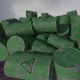 Barrels of biological waste. Isolated . 3D render. An old barrels of biological waste. Background. 3D render Stock Photos