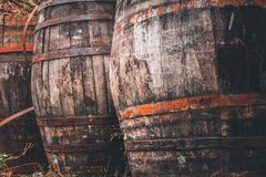 Old barrels found in rural areas of Crete. Greece stock image