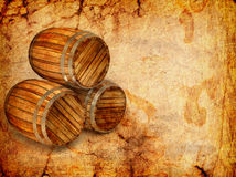 Old barrels on a grunge Royalty Free Stock Images