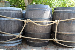 Old barrels. For gunpowder, outside Stock Photo