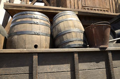 Old barrels stored. On an old truck Stock Image