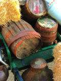 Old Barrels with Straw Royalty Free Stock Photography