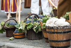 Old barrels and tools for wine production and baskets with grapes.  stock photo
