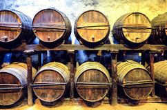 Old barrels for Whisky or wine Stock Photos