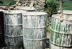 Old barrels with white color Royalty Free Stock Images