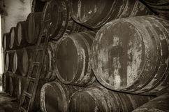 Old barrels for wine or whiskey Royalty Free Stock Image