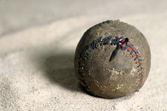 Old  Baseball. Old  leather baseball that is coming apart Stock Photos