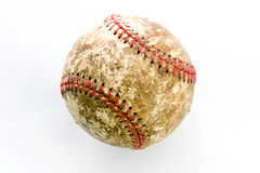 Old Baseball. Image of an old scuffed up baseball on a white bacground Royalty Free Stock Photos
