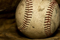 Old Baseball. Nostalgic close up of a old baseball that has seen its days Stock Images