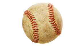 Old baseball. High rez worn baseball on a white background Royalty Free Stock Photos