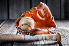 Old baseball ball and stick Stock Image
