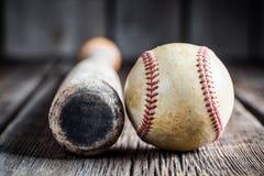 Old baseball bat and Ball Royalty Free Stock Images