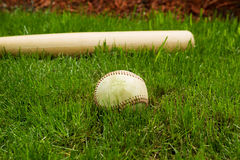 Old Baseball and Bat on Field Royalty Free Stock Images