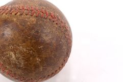 Old Baseball Detail. A closeup of an old baseball, worn with age photographed on a white background Royalty Free Stock Photography