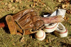 Old baseball equipment Stock Images
