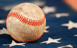 Old Baseball on Flag Royalty Free Stock Photography