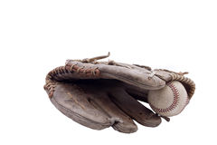 Old baseball glove and ball. Isolated on white Stock Images