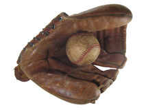 Old baseball glove and ball. An old baseball glove (1950's Roy McMillan model) and ball Stock Photos