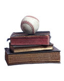 Old baseball on old books Royalty Free Stock Photos