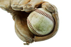 Old Baseball and worn Glove isolated on white Stock Image