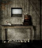 Old basement with books Royalty Free Stock Image