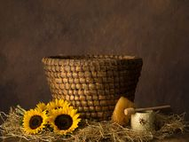 Old basket beehive and sunflowers royalty free stock photo