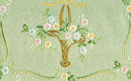 Old basket flower embroidery. Stock Photos