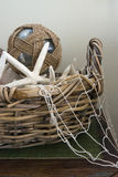 Old Basket with Marine Items Stock Image