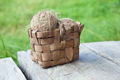 Old  Basket threads Royalty Free Stock Photography