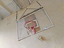 Old basketball backboard. In an abandoned room Stock Photo