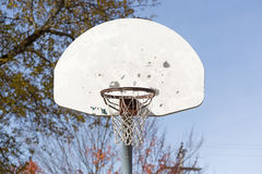 Old basketball backboard with net Royalty Free Stock Images