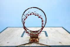 Old basketball board and blue sky Royalty Free Stock Images