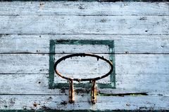 Old basketball hoop with blue sky background. Close up old basketball hoop with blue sky background Stock Photos