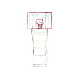 Old Basketball hoop, with clipping path. Royalty Free Stock Photos