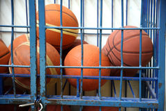 Old basketball in jail Stock Photos