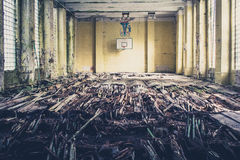 Old basketball sports hall , abandoned school Stock Images