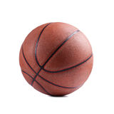 Old basketball on white background Royalty Free Stock Photography