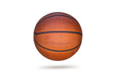 Old basketball on white background Stock Photo