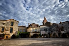 The old bastide of Monpazier, Dordogne, France Stock Photos