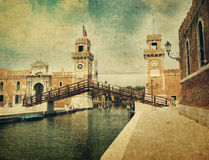 Old bastille in Venice. Old style picture Royalty Free Stock Photography