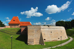 Old bastion and fortification walls in Vilnius, Lithuania.  stock photo