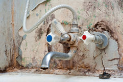 Old bath tap. Very old rusty bath tap. poor unhealthy life concept Royalty Free Stock Photography