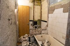 old bathroom demolition before renovation royalty free stock photography