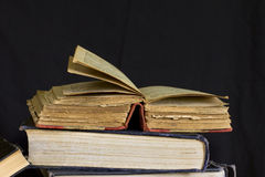 Old battered book with yellow pages Royalty Free Stock Photo