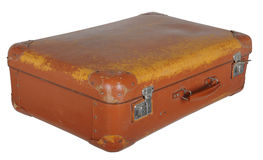 Old battered brown suitcase Stock Photos