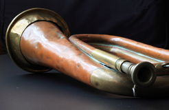 Old Battered Bugle. A close up of an old battered army bugle Royalty Free Stock Image