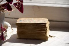 Old and battered deck of cards stock photos