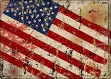Old battered grungy USA flag metal sign, vector illustration. Fictional design stock illustration