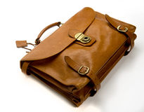Old battered, leather  briefcase Stock Photos