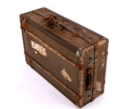 Old Battered Suitcase. Old suitcase, isolated Royalty Free Stock Photos